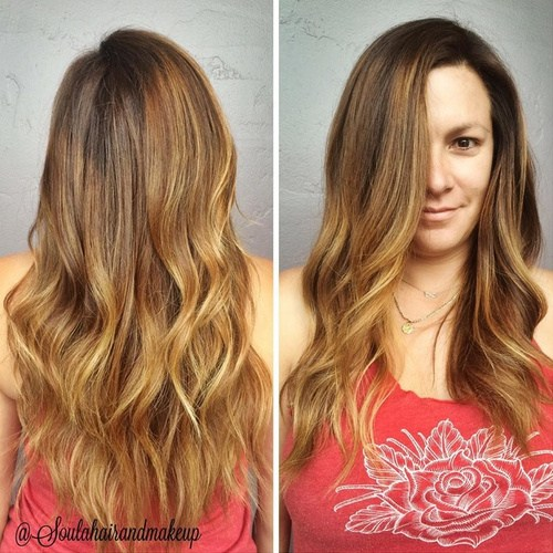 Ombre Hair with Side Parting