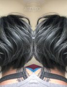 Pastel Balayage Hairstyles with Short Wavy Bob - Black and Titanium Gray Hair