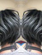 Pastel Balayage Hairstyles with Short Wavy Bob - Black and Titanium Gray Hair