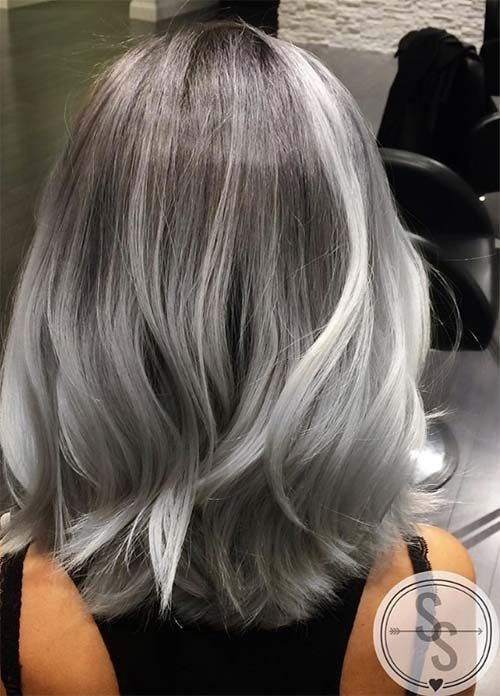Silver Hair Color Ideas - Pastel Hairstyles with Shoulder Length Hair