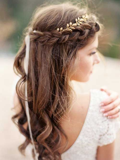 Braided Fringe With Loose Curls Easy Wedding Hairstyles