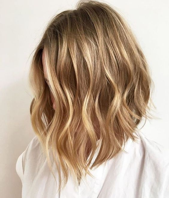 Soft Wavy Lob - Ombre, Shoulder Length Hairstyles