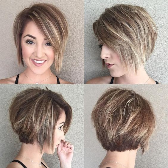 A-line Bob Hairstyles - Balayage Short Haircut