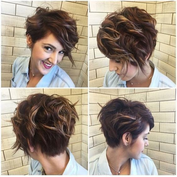 Asymmetrical, Messy Pixie Haircut - Balayage Short Hairstyle, Brown and Blonde