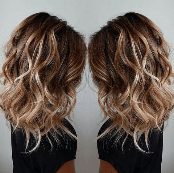 Balayage, Layered Curly Hairstyles for Medium Hair - Women Shoulder Length Haircut Ideas