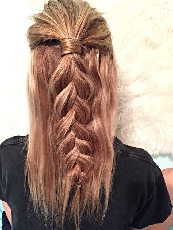 Half Up Hairstyle - Loose Dutch Braid for Medium Length Hair