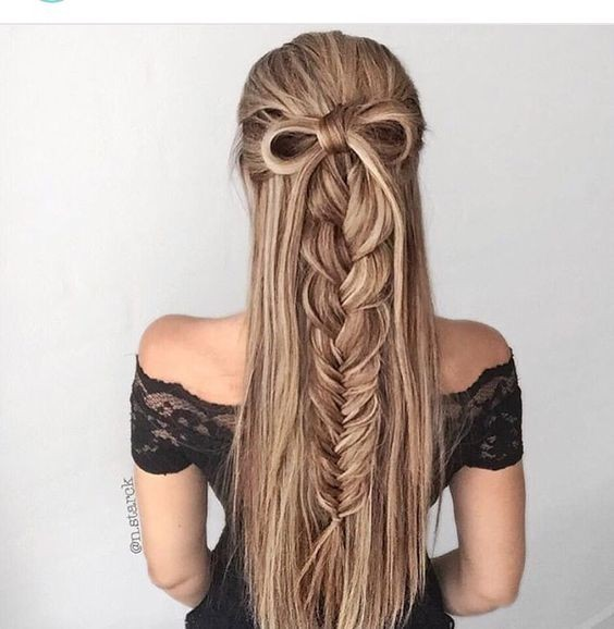 Half Up Half Down Hairstyles for Braid - Youthful Style