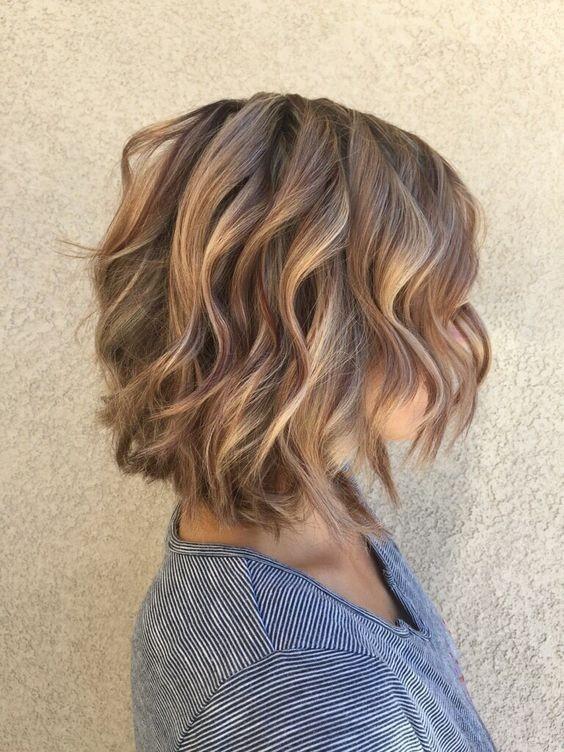Layered, Curly Bob Hair Styles - Balayage Short Haircut for Women