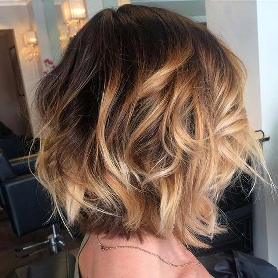 Layered, Curly Bob Haircut - Balayage Hair Styles - Golden Caramel Highlights
