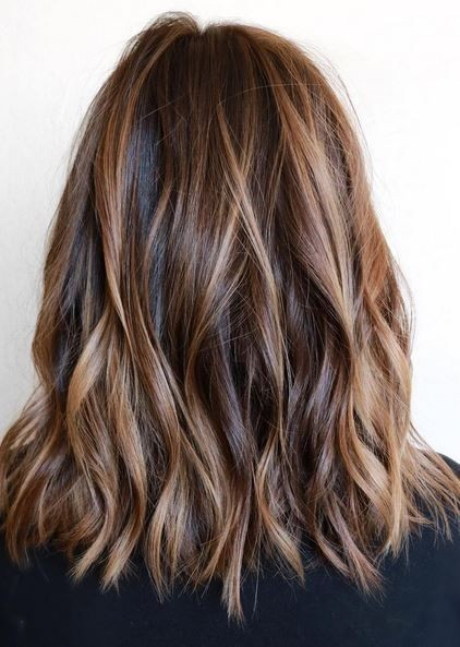 Layered Haircut - Brunette Balayage Hair Styles for Medium Length Hair