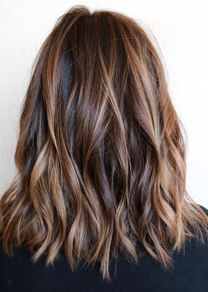 Layered Haircut - Brunette Balayage Hair Styles for Medium Length Hair