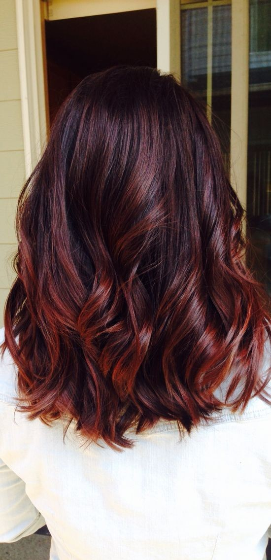 Medium Hairstyles for Thick Hair - Autumn Hair Color Ideas, Cherry Cola Hair for Fall