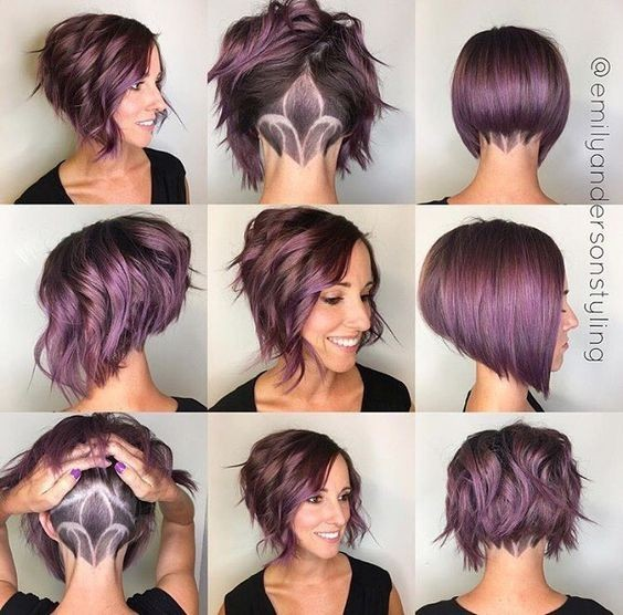 Stacked Short Haircuts for Women - Stunning A-line Bob With Undercut Nape Art Haircut