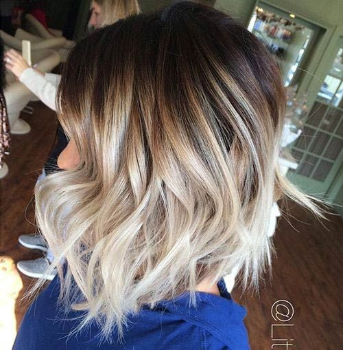 32 pretty medium length hairstyles 2017 hottest shoulder length brown to blonde bob with curled ends ombre shoulder length hairstyles urmus Choice Image