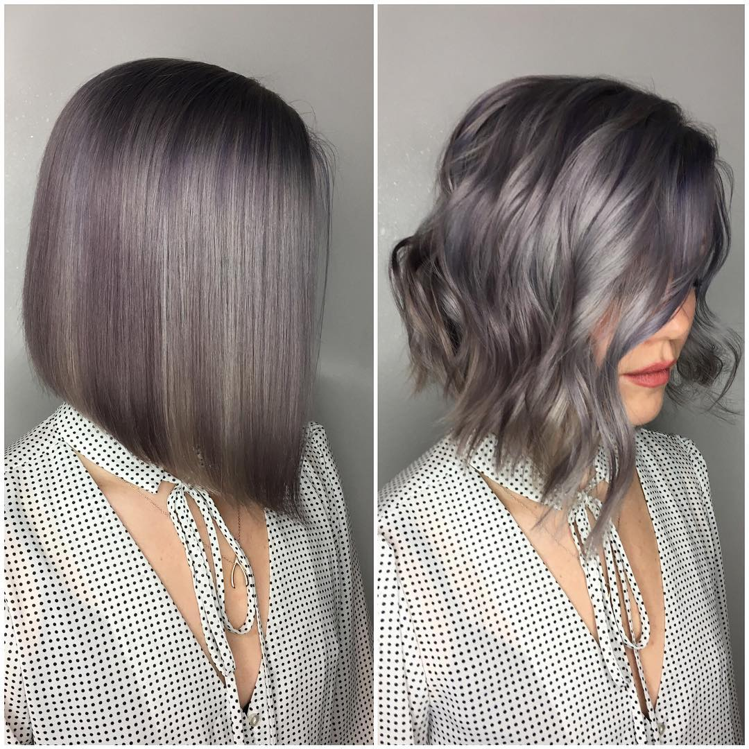 Purple And Silver Curly Bob Shoulder Length Hairstyle