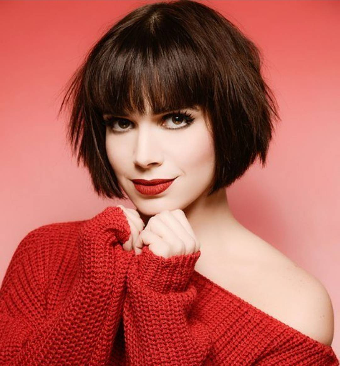 Choppy Bob Straight Across Bangs Short Haircut For Long Faces