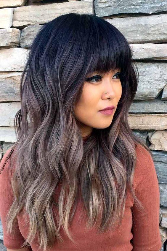 Long Hair Layers Haircut With Bangs 94