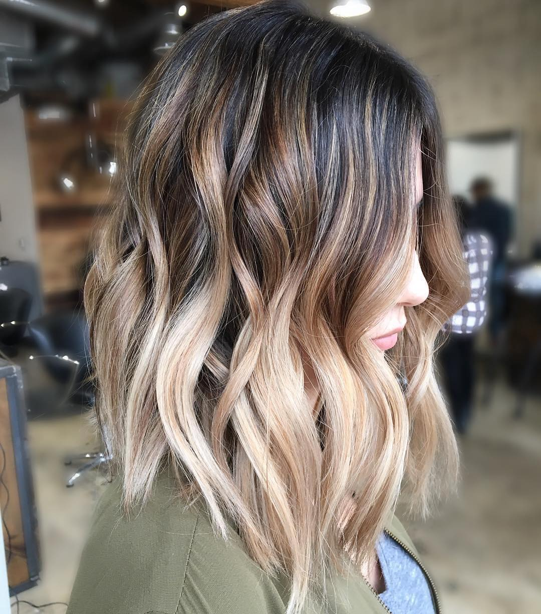 Pretty Balayage Ombre Hair Styles for Shoulder Length Hair, Medium Haircut Color Ideas