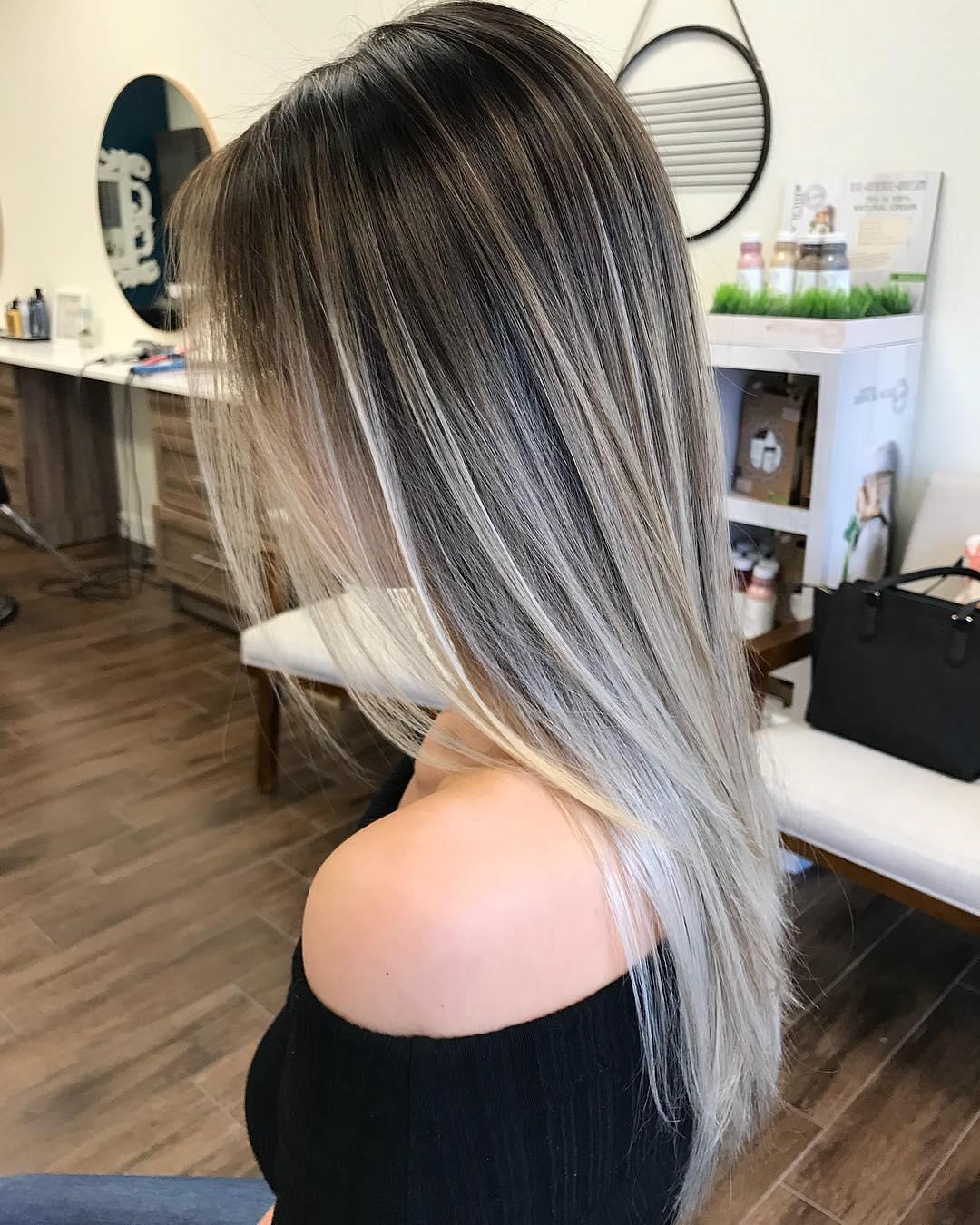 Blonde balayage on black hair