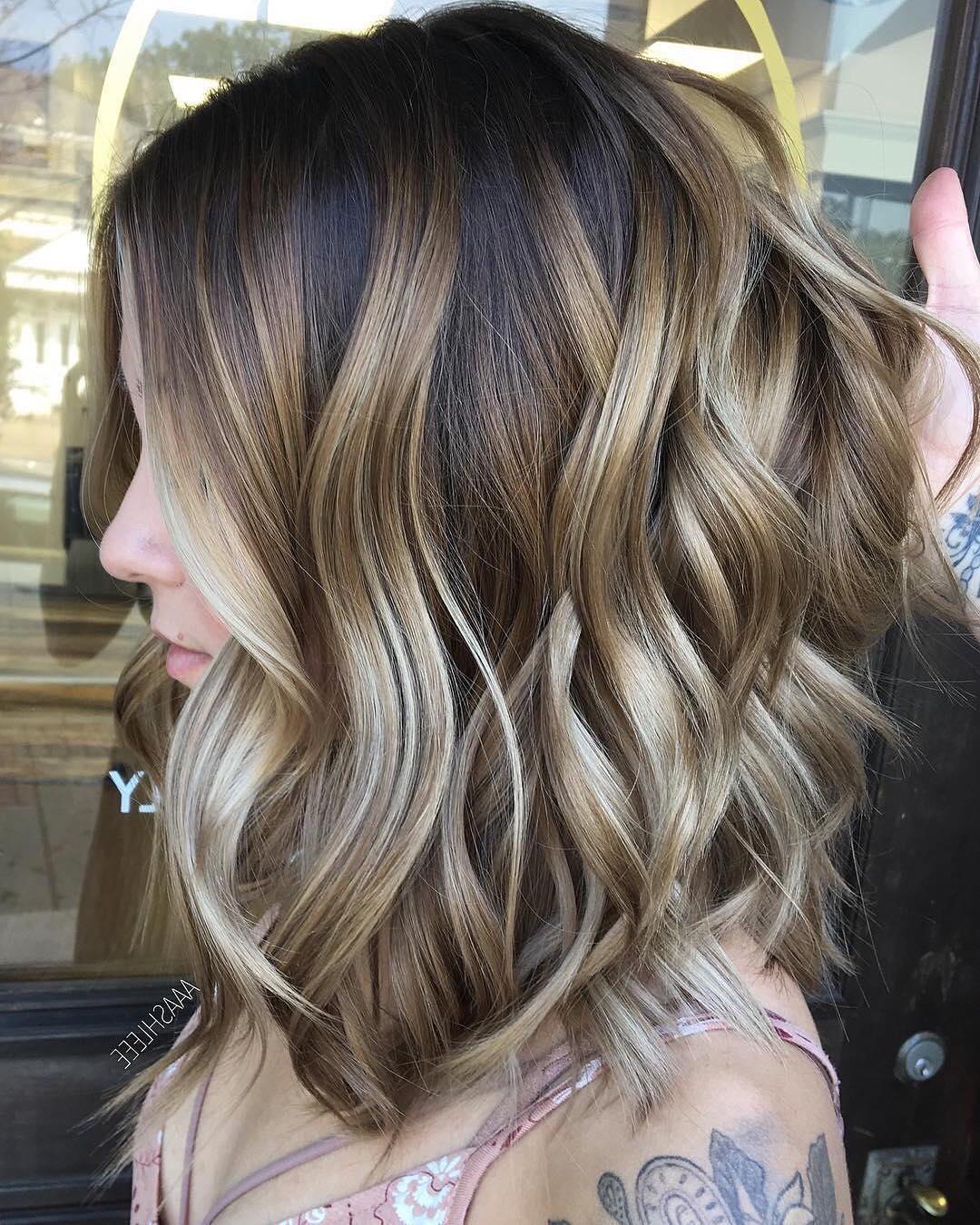 Brown and blonde balayage medium length hair