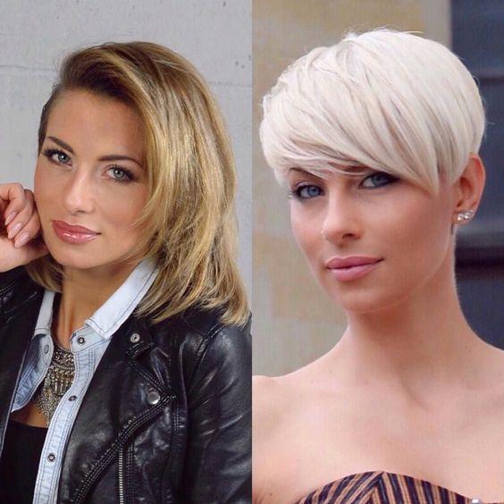 10 Trendy vor und nach Transformationen von langen Haaren zu kurzen Haaren