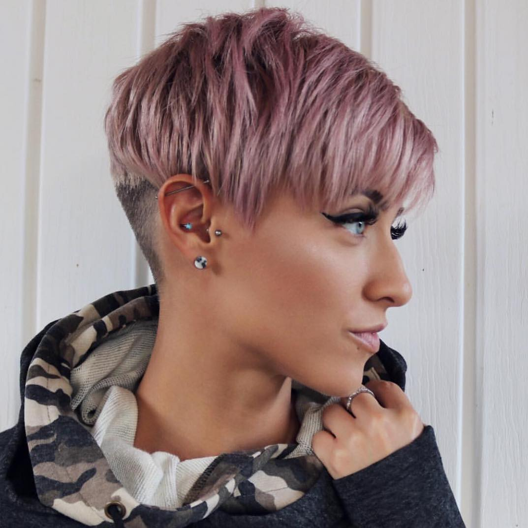 Light Pink Undercut Pixie Hair Cut