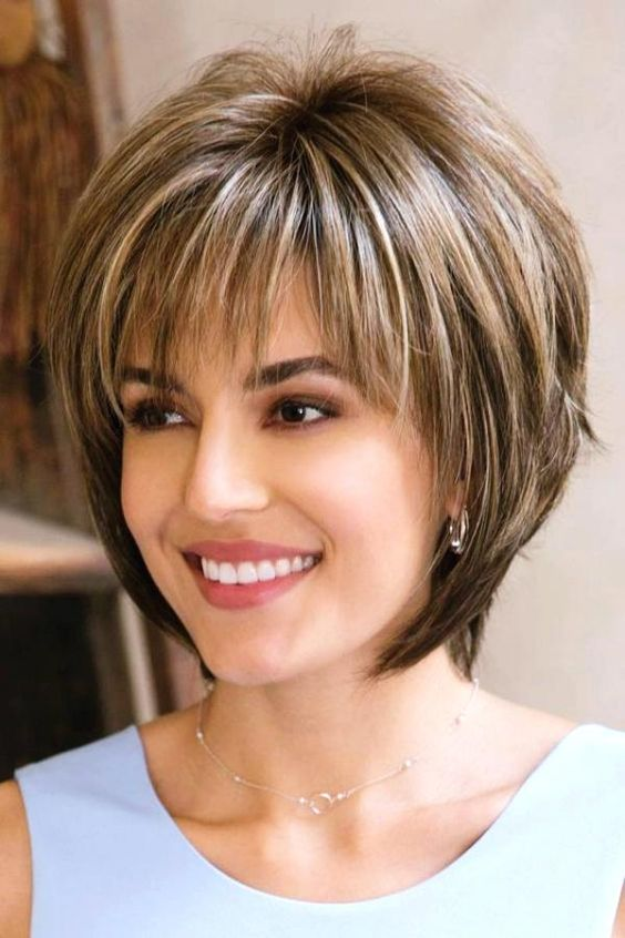 Layered Bob Medium Length Hairstyles For Over 50 With Glasses 58
