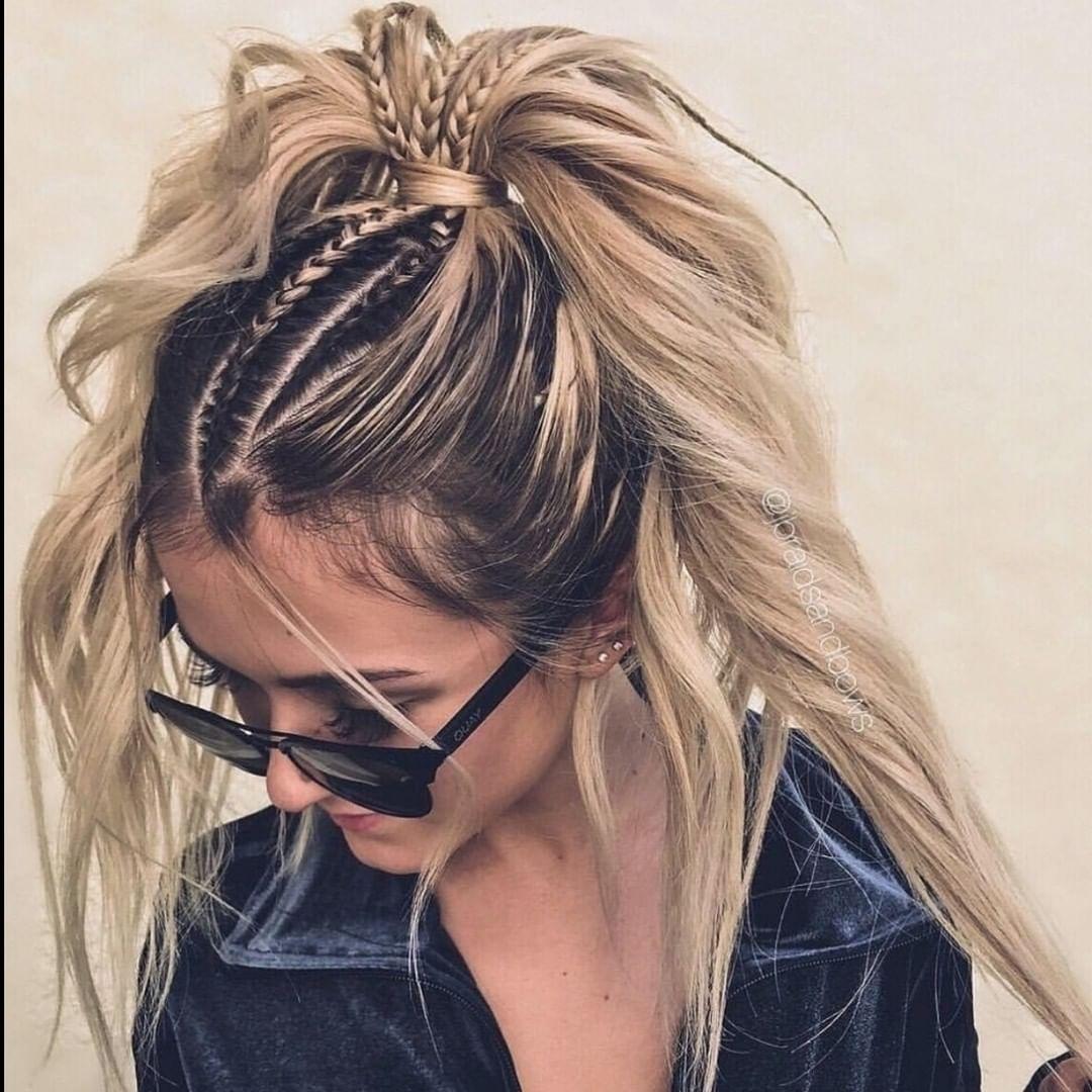 Yaz aylarında moda örgülü saç modelleri - uzun saçlar için at kuyruğu saç modelleri