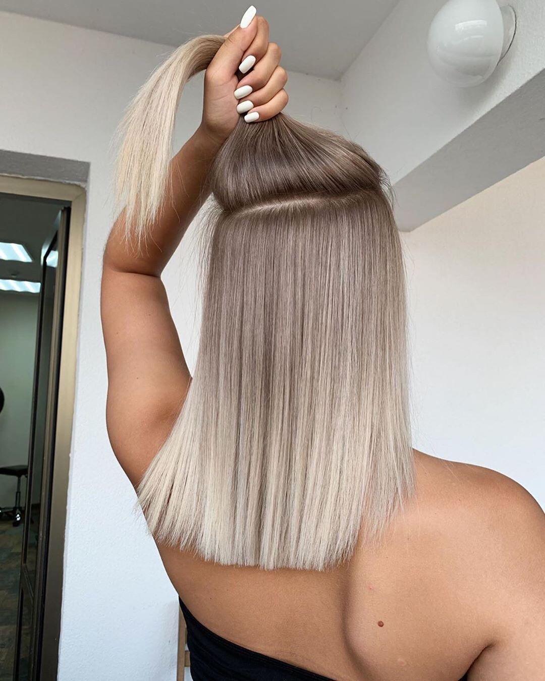 Omuz uzunluğu saç - orta uzunlukta saç rengi fikirler için şık Balayage Ombre saç modelleri