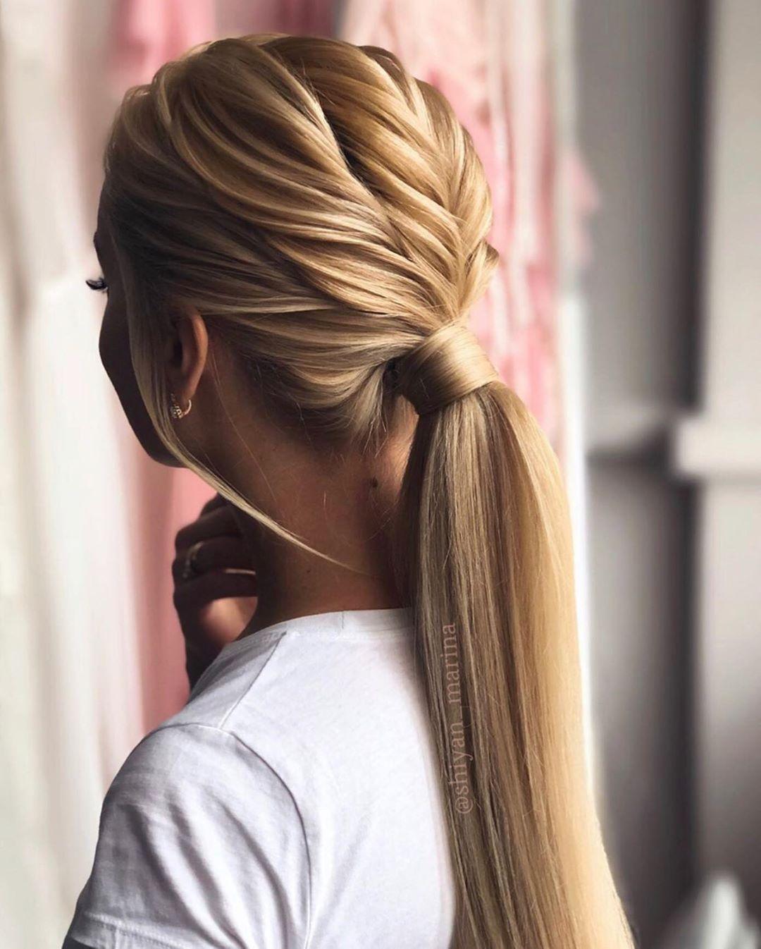 Hübsche Pferdeschwanz-Frisur für langes Haar - Pferdeschwanz-Frisur-Ideen