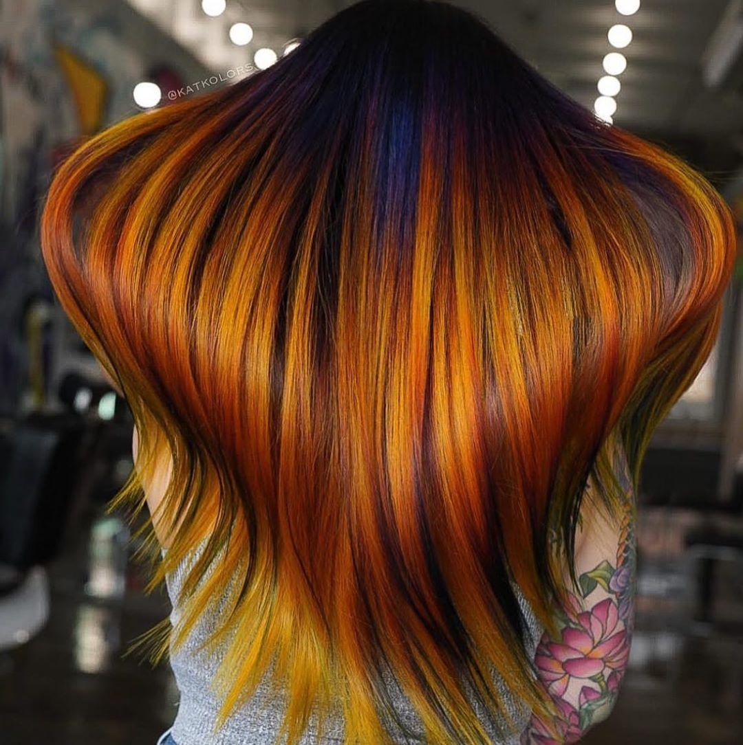 10 Women's Long Hair Color Trends in Vivid Rainbow Designs
