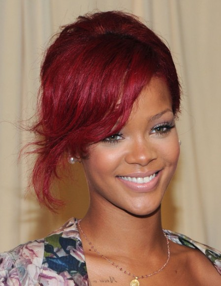 Rihanna French Twist Hairstyles 2012