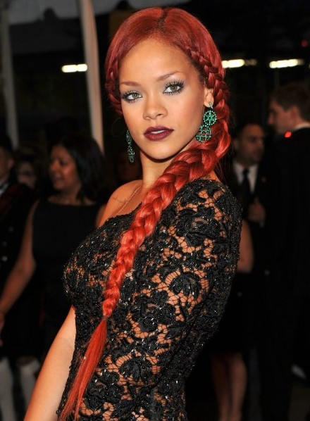 Rihanna Long Braided Hairstyles 2012