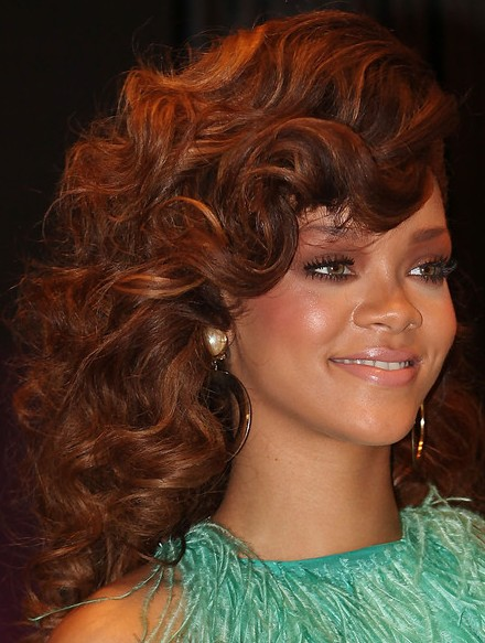 Rihanna Long Curly Wavy Hairstyles 2012