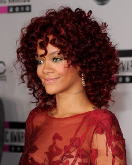 Rihanna Medium Curly Hairstyles 2012