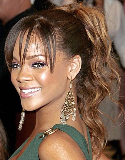 Rihanna Ponytail Hairstyles for Long Hair