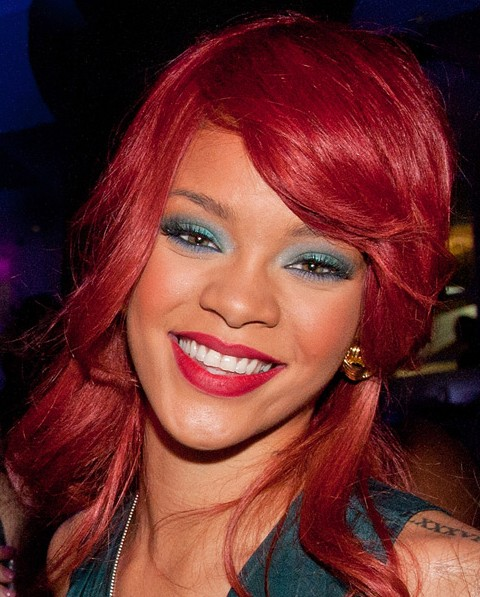 Rihanna Red Long Hairstyles 2012