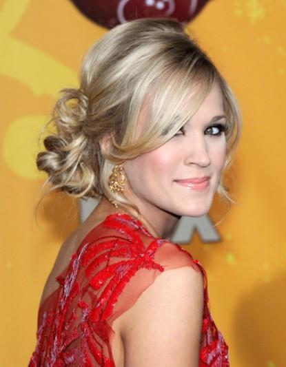 Carrie Underwood Bun Hairstyles 2012