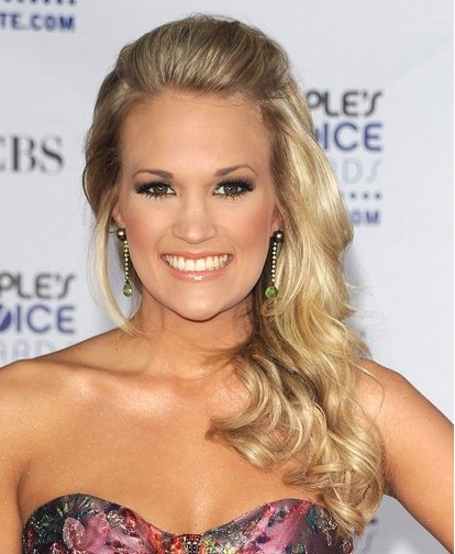 Carrie Underwood Side Part Hairstyles 2012
