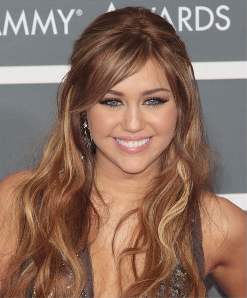 Miley Cyrus Long Straight Hairstyles 2012