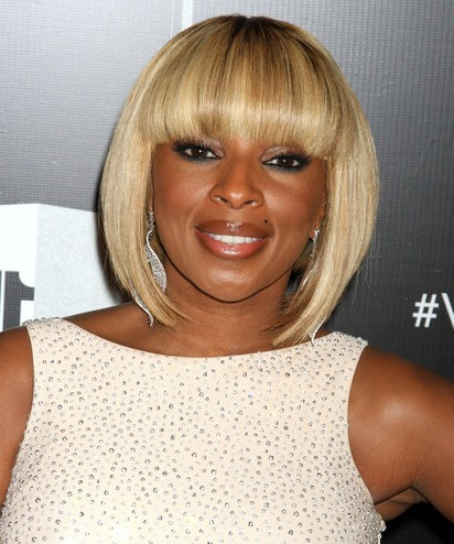 Mary J. Blige Short Bob Haircuts 2012