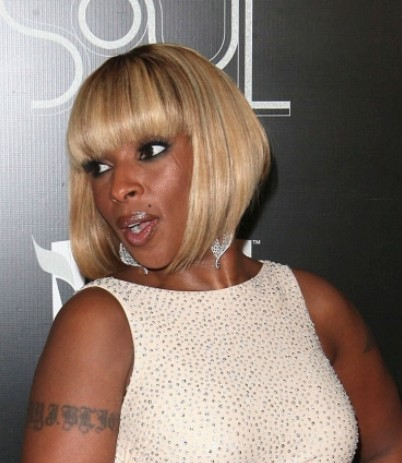 Mary J. Blige Short Bob Hairstyles 2012